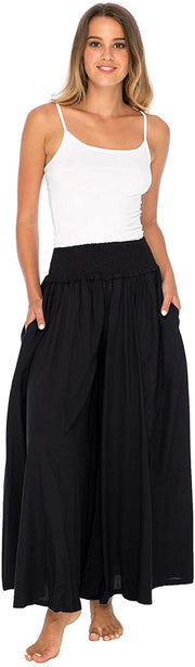Back From Bali Womens Boho Wide Leg Palazzo Pants Smocked Waist Harem Lounge Loose Summer Beach Pants Black M/L