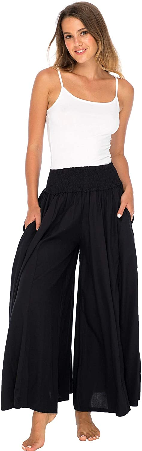 Back From Bali Womens Boho Wide Leg Palazzo Pants Smocked Waist Harem Lounge Loose Summer Beach Pants Black L/XL