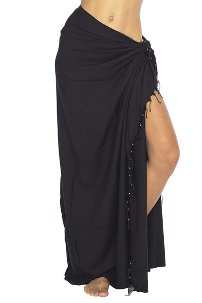 Sarong Beach Cover Up Wrap Solid Beaded Coconut Tie