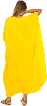Back From Bali Womens Beach Cover Up Maxi, Kaftan Love Tree Beach Dress Swimsuit Cover Up Yellow L/XL
