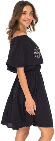 Back From Bali Womens Off Shoulder Boho Embroidered Dress Short Ruffle Beach Sundress Black M/L