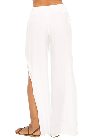 Back From Bali Womens Palazzo Pants Wide Leg Loose Beach Pants with Slit Boho Swimsuit Cover Up White L/XL