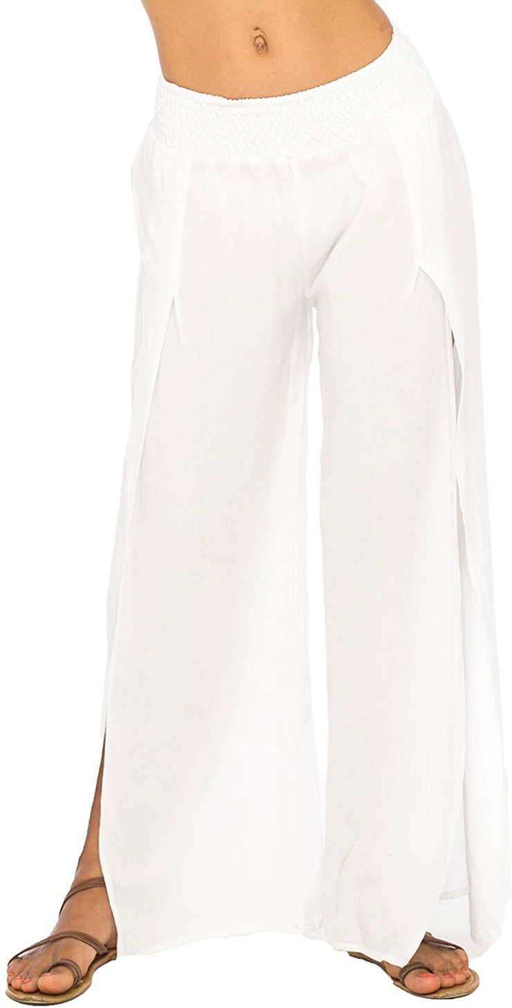 Back From Bali Womens Palazzo Pants Wide Leg Loose Beach Pants with Slit Boho Swimsuit Cover Up White S/M