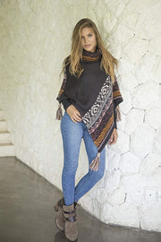Turtle Neck Knitted Winter Poncho-Pullover Fringe Sweater