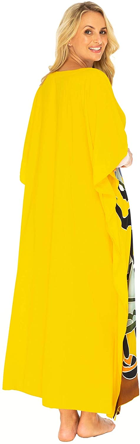 Back From Bali Womens Beach Swimsuit Cover Up Caftan Poncho Long Africa Four Sisters Yellow