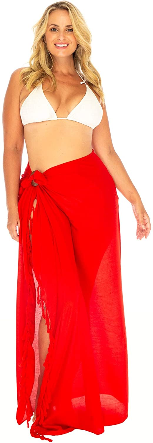 Plus Size Sarong Lightweight Swimsuit Cover Up Solid with Coconut Clip