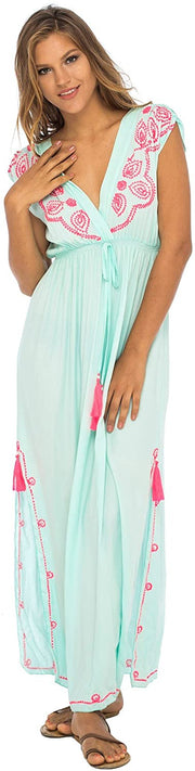 Back From Bali Womens Long Maxi Dress Boho Embroidered Sleeveless Summer Sundress Deep V Neck Aqua L/XL
