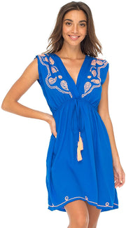 Back From Bali Womens Dress Boho Embroidered Sleeveless Summer Sundress Deep V Neck Midi Short Dress Royal Blue L/XL
