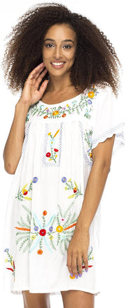Back From Bali Mexico Embroidered Short Dress White S/M