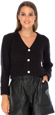 Back From Bali Womens Button Down Cropped Cardigan Sweater Long Sleeve V Neck Knit Shrug Bolero Black L/XL