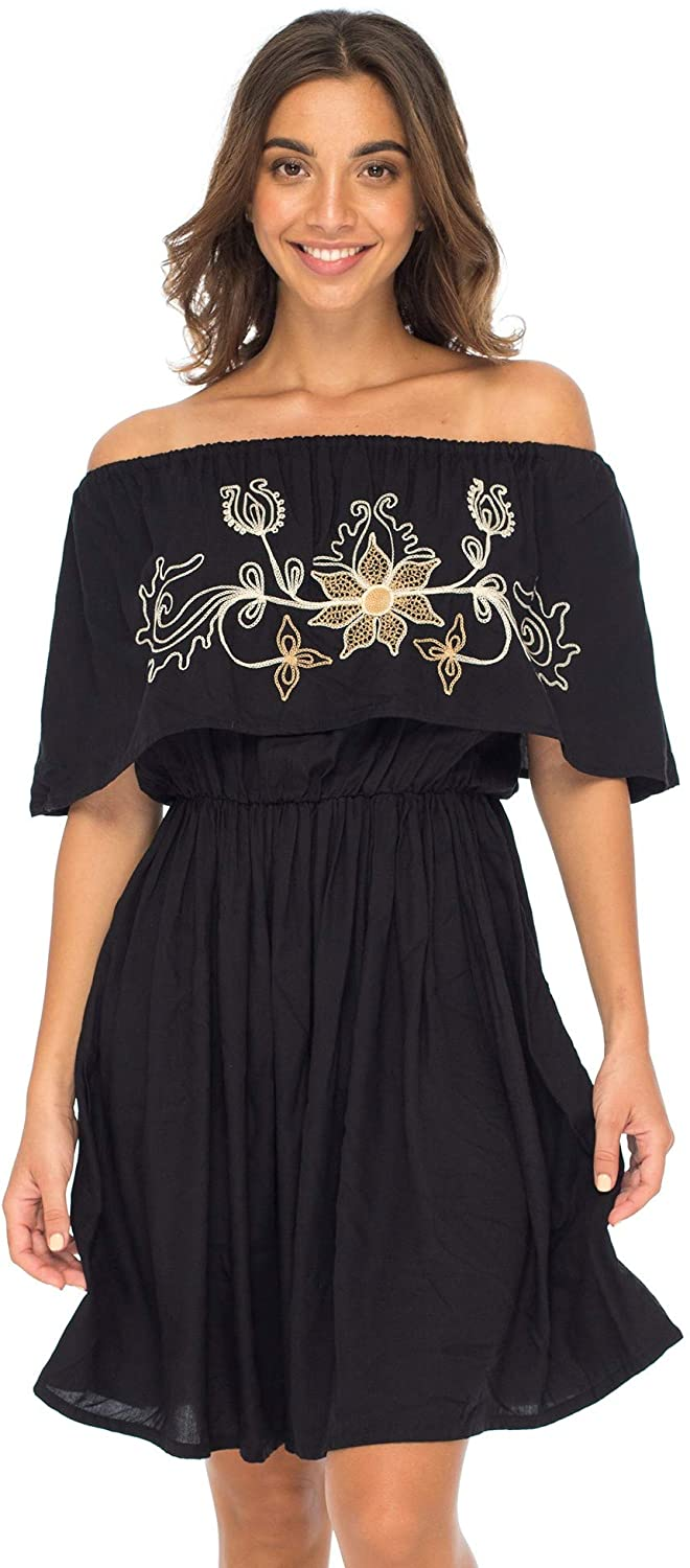 Back From Bali Womens Off Shoulder Boho Embroidered Dress Short Ruffle Beach Sundress Black S/M