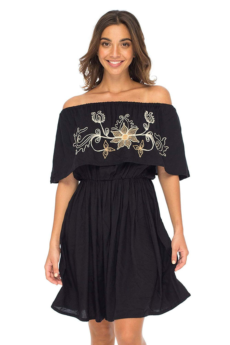 Off Shoulder Boho Embroidered Dress Short Ruffle Beach Sundress