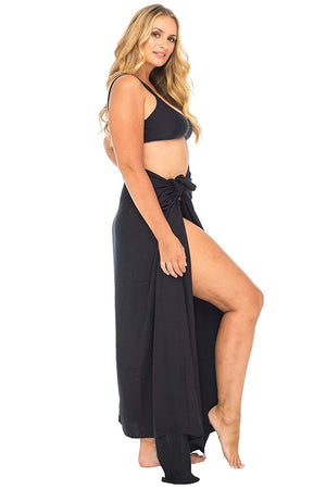 Plus Size Solid Colour Sarong Swimsuit Cover Up with Coconut Clip