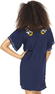 Back From Bali Mexico Embroidered Short Dress Navy M/L