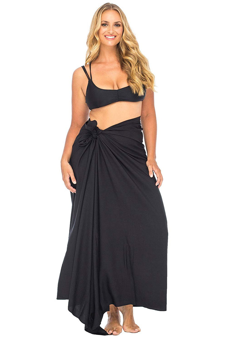 Plus Size Solid Color Sarong Swimsuit Cover Up with Coconut Clip