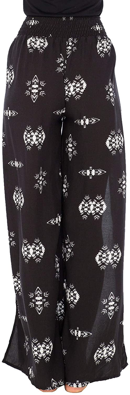 Back From Bali Womens Palazzo Pants Wide Leg Loose Beach Pants with Slit Boho Swimsuit Cover Up Ethnic Black S/M