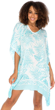 Back From Bali Womens Boho Swimsuit Cover Up Beach Dress Tunic Top Bohemian Leaf Print Short Kaftan Aqua S/M