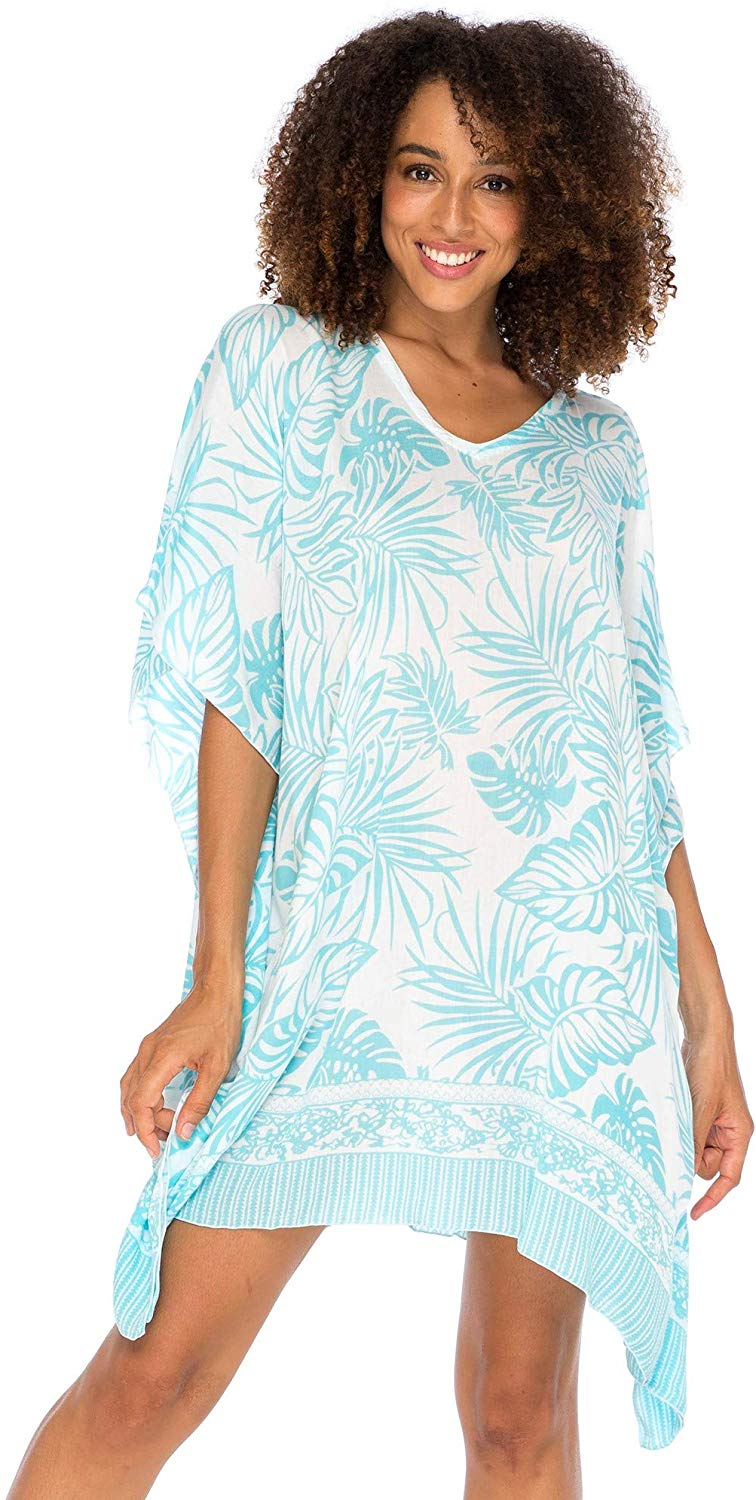 Boho Swimsuit Cover Up Beach Dress Tunic Top Bohemian Leaf Print Short Kaftan