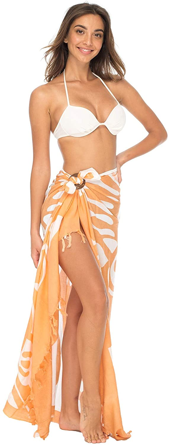 Sarong Wrap Beach Swimsuit Cover Up Butterfly with Coconut Clip