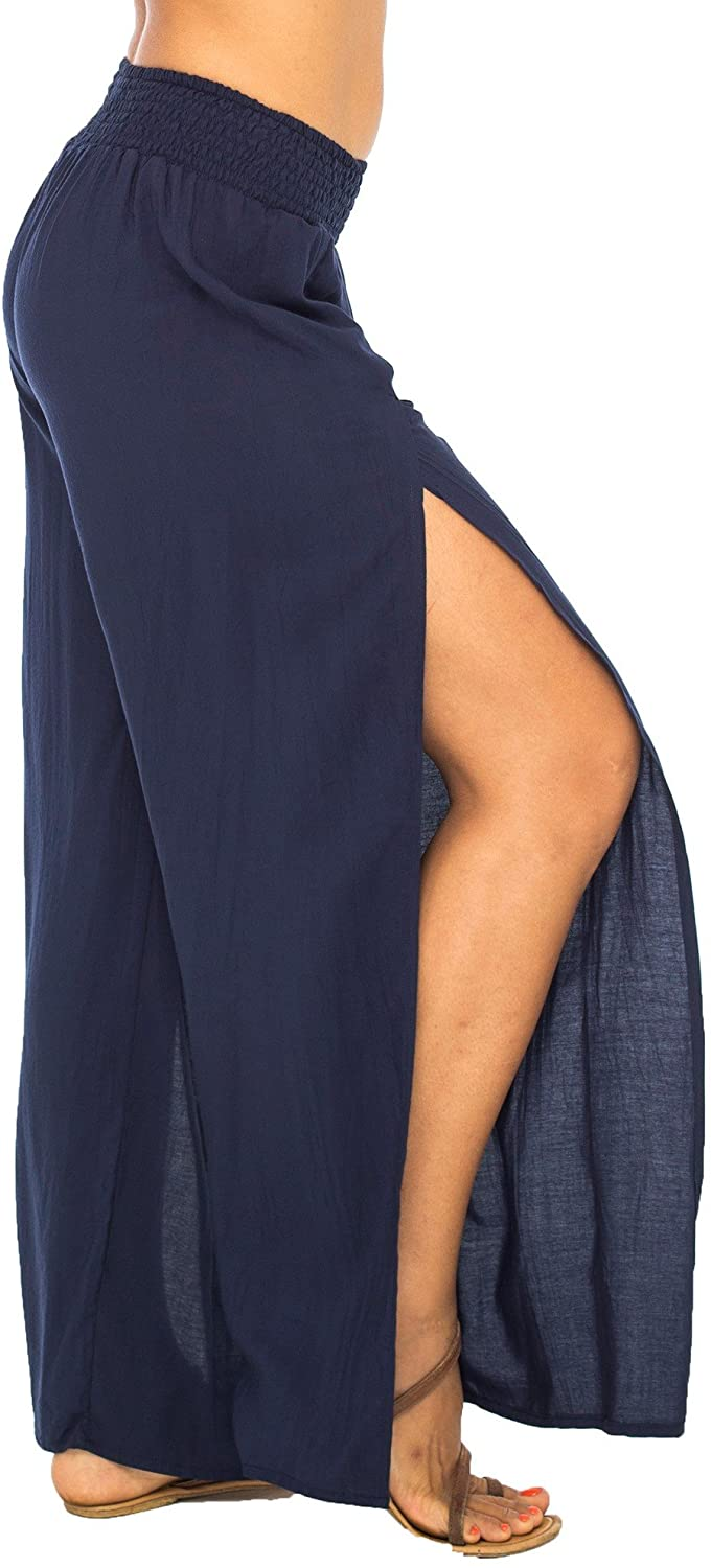 Back From Bali Womens Palazzo Pants Wide Leg Loose Beach Pants with Slit Boho Swimsuit Cover Up Navy M/L