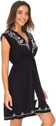 Back From Bali Womens Dress Boho Embroidered Sleeveless Summer Sundress Deep V Neck Midi Short Dress Black L/XL