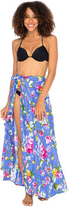 Floral Sarong Skirt Swimsuit Cover Up Beach Wrap with Side Tie