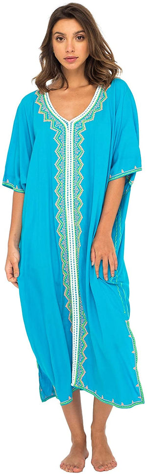 Maxi Embroidered Beach Dress Cover Up Caftan