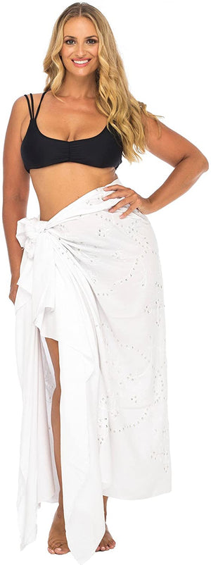 Back From Bali Womens Plus Size Sarong Swimsuit Cover Up Embroidered Beach Wear Bikini Wrap Skirt with Coconut Clip