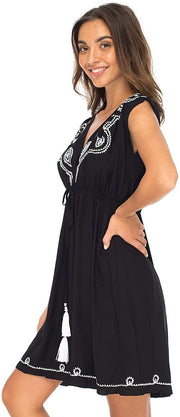 Back From Bali Womens Dress Boho Embroidered Sleeveless Summer Sundress Deep V Neck Midi Short Dress Black S/M