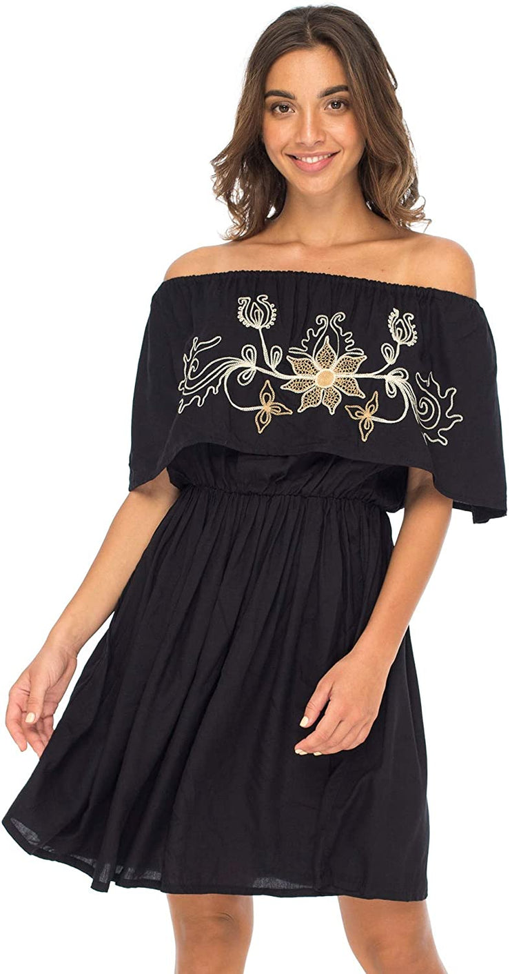Back From Bali Womens Off Shoulder Boho Embroidered Dress Short Ruffle Beach Sundress Black L/XL