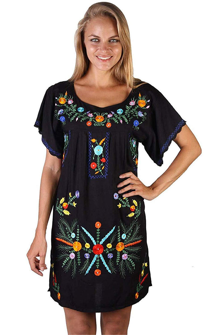 Mexican Embroidered Dress Short Summer Peasant Dress
