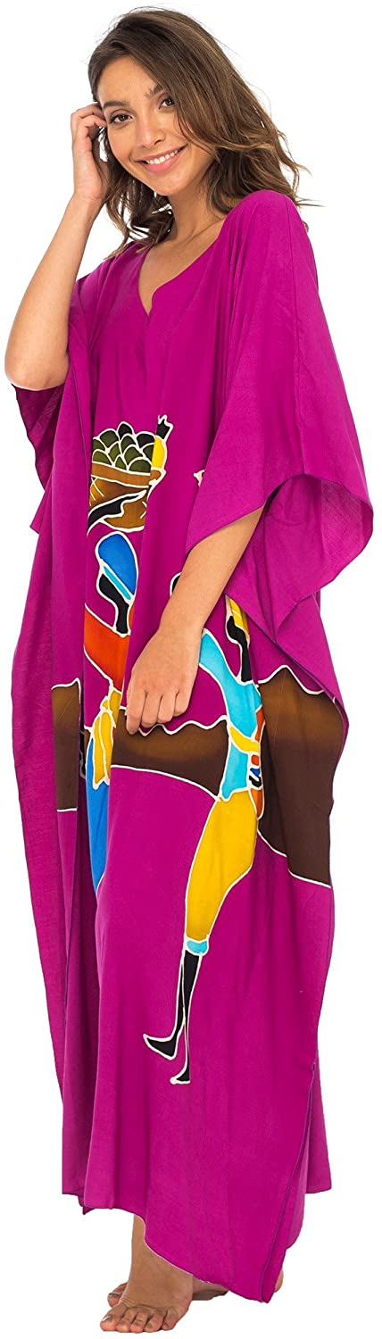 Long Maxi African Print Cover up Kaftan Opaque Hand Batiked