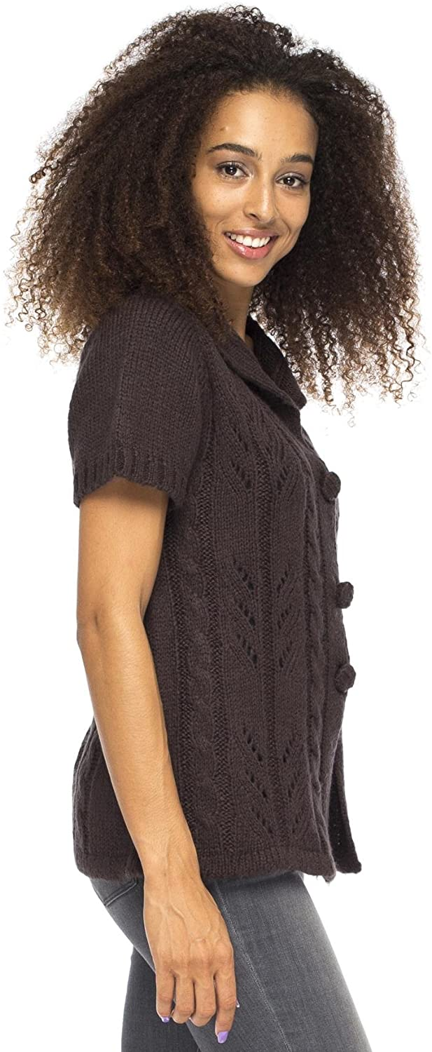 Back From Bali Italia Vest Brown Womens Cable Knit Short Sleeve Boho Cardigan L/XL