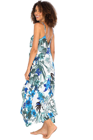 Back From Bali Womens Sleeveless Floral Summer Maxi Dress, Spaghetti Straps Long Casual Boho Sexy Beach Cover Up Blue Floral M/L