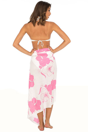 Floral Hibiscus Sarong Swimsuit Cover Up with Sequins and Coconut Clip