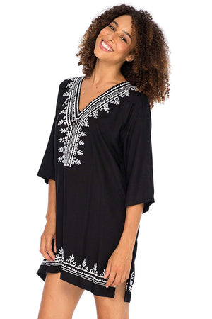 Boho Embroidered Swimsuit Cover Up Loose Fit Casual Tunic Top