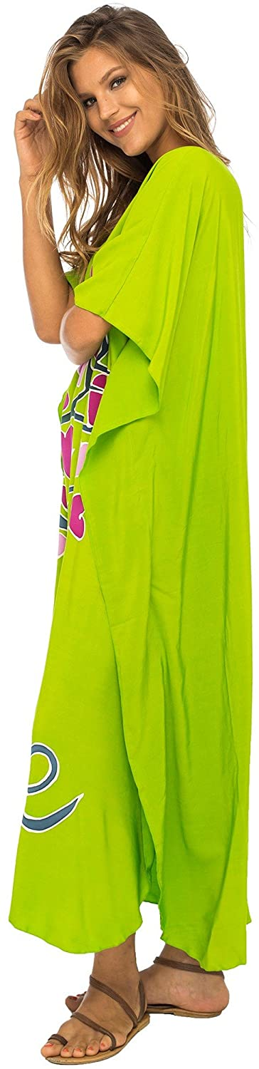 Back From Bali Womens Beach Cover Up Maxi, Kaftan Love Tree Beach Dress Swimsuit Cover Up Lime L/XL
