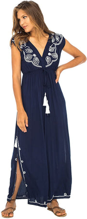 Back From Bali Womens Long Maxi Dress Boho Embroidered Sleeveless Summer Sundress Deep V Neck Navy M/L