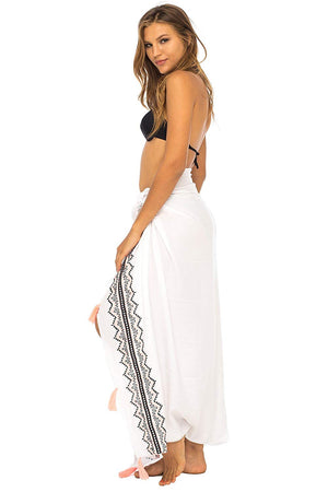 Back From Bali Womens Sarong Swimsuit Cover Up Embroidery Beach Wear Bikini Wrap Skirt with Coconut Clip White