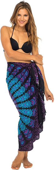 Back From Bali Womens Beach Swimsuit Bikini Cover Up Wrap and Clip Sarong Peacock Black Purple