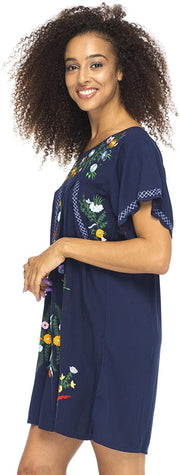 Back From Bali Mexico Embroidered Short Dress Navy S/M
