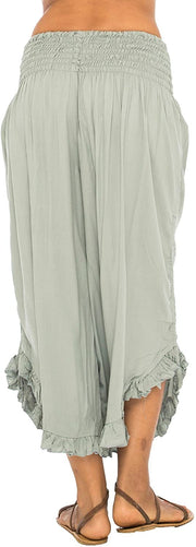 Back From Bali Womens Wide Leg Comfort Elastic Waist Crop Ruffle Hem Audi Pants Grey M/L