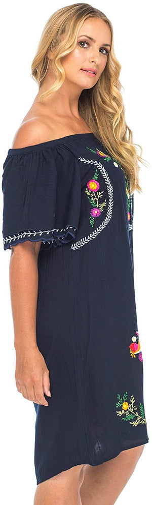 Plus Size Mexican Style Off The Shoulder Dress with Embroidery