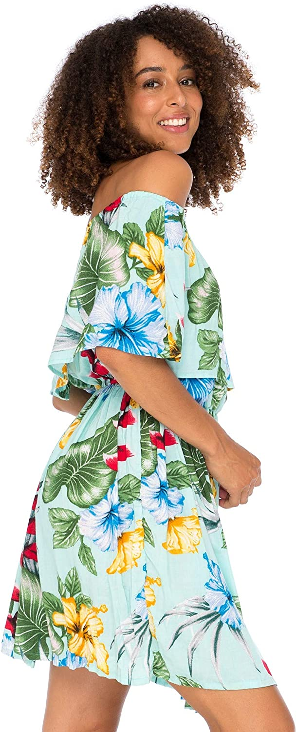 Back From Bali Womens Off Shoulder Floral Print Boho Dress Short Ruffle Beach Sundress Lite Teal M/L