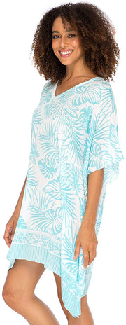 Swimsuit Cover Up Beach Dress Tunic Top Bohemian Leaf Print Short Kaftan