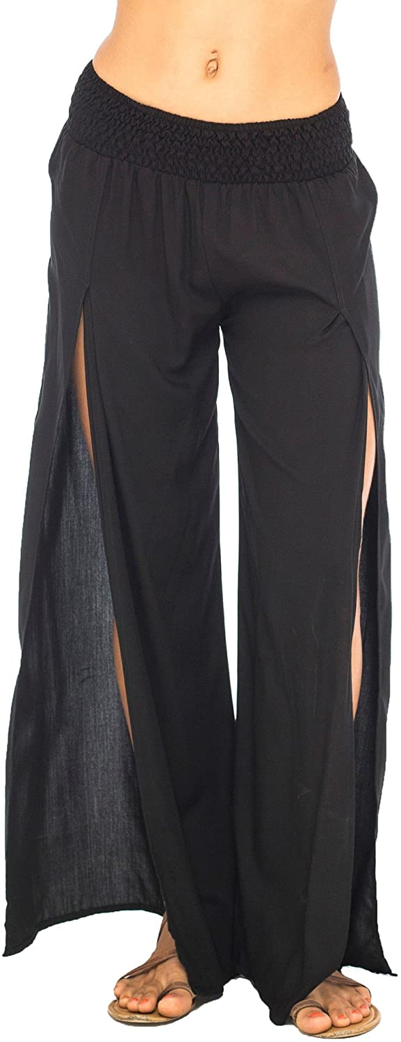Back From Bali Womens Palazzo Pants Wide Leg Loose Beach Pants with Slit Boho Swimsuit Cover Up Black L/XL