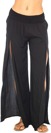 Back From Bali Womens Palazzo Pants Wide Leg Loose Beach Pants with Slit Boho Swimsuit Cover Up Black M/L