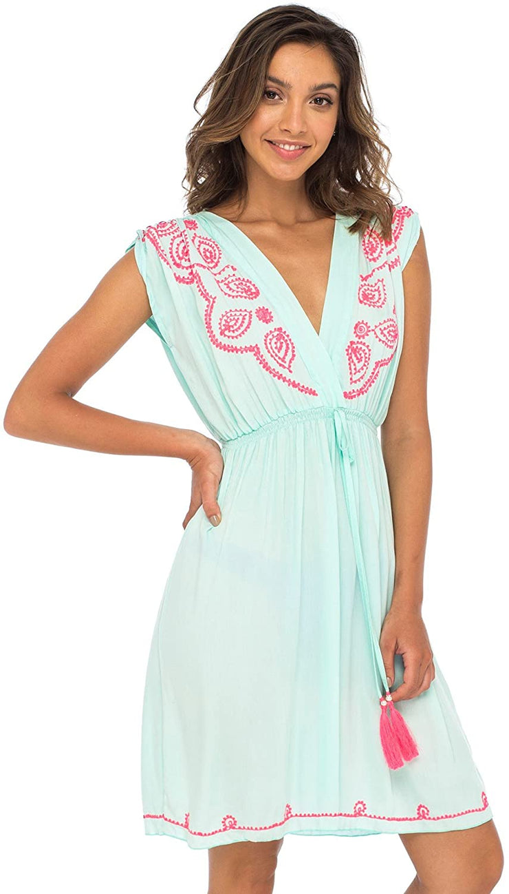 Back From Bali Womens Dress Boho Embroidered Sleeveless Summer Sundress Deep V Neck Midi Short Dress Aqua L/XL
