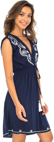 Back From Bali Womens Dress Boho Embroidered Sleeveless Summer Sundress Deep V Neck Midi Short Dress Navy L/XL