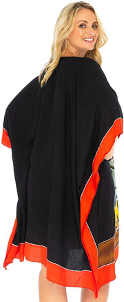 Back From Bali Womens Beach Swim Suit Cover Up Caftan Poncho Short Africa Four Sisters Black